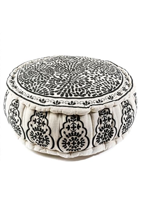 Black Embroidered Ottoman