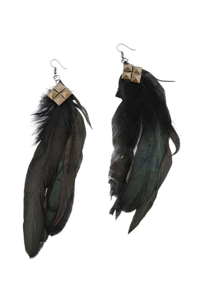 Black Feather Studded Earrings