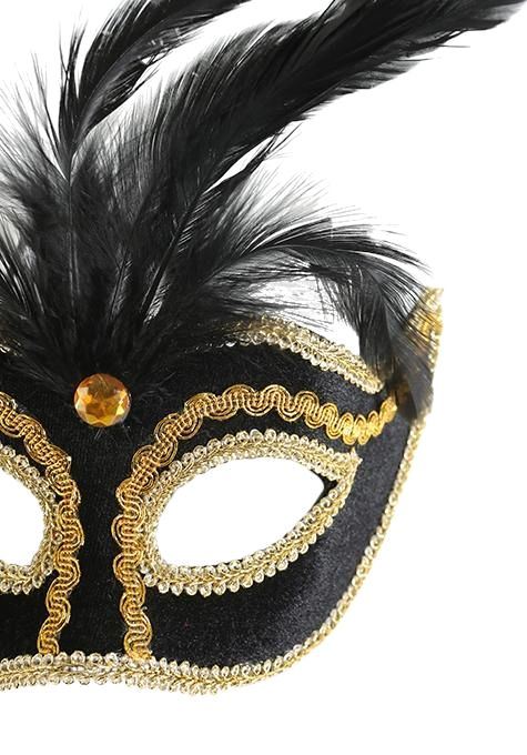 Black & Gold Feather Mask