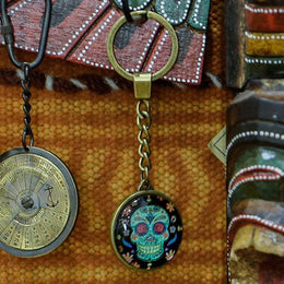 Black & Green Skull Keyring