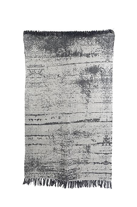 Black Modern Print Cotton Rug