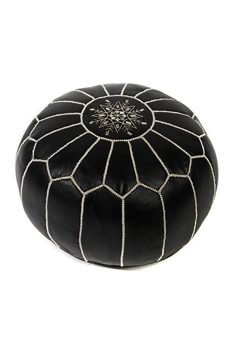 Black Moroccan Leather Ottoman Homewares Ishka