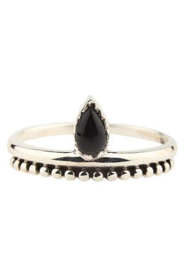 Black Onyx Teardrop Point Ring