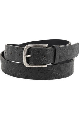 Black Paisley Leather Belt