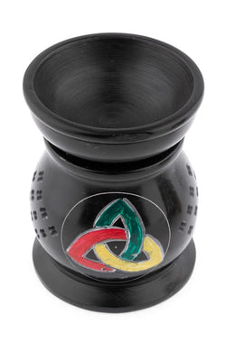 Black Triquetra Soapstone Oil Burner