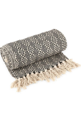 Black & White Diamond Cotton Throw