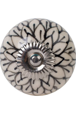 Black & White Flower Ceramic Knob