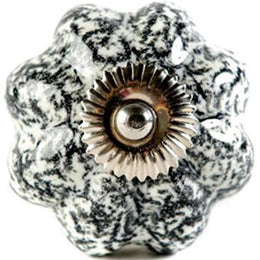 Black & White Marbled Ceramic Knob