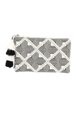 Black & White Silver Beading Clutch