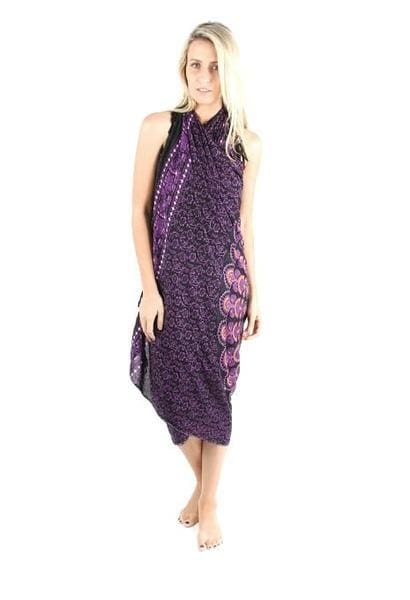 Black/purple Mandala Elephant Sarong