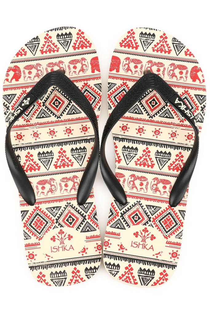 Black/red Elephant Journey Print Thongs