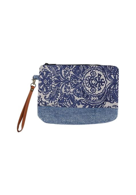 Block Print Leather Pouch