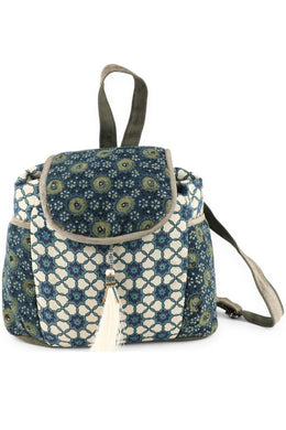 Blue & Cream Mix Print Backpack