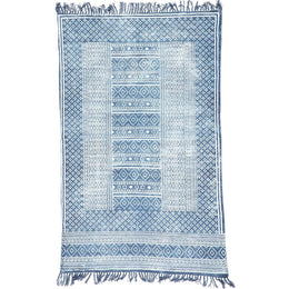 Blue Dabu Print Cotton Rug