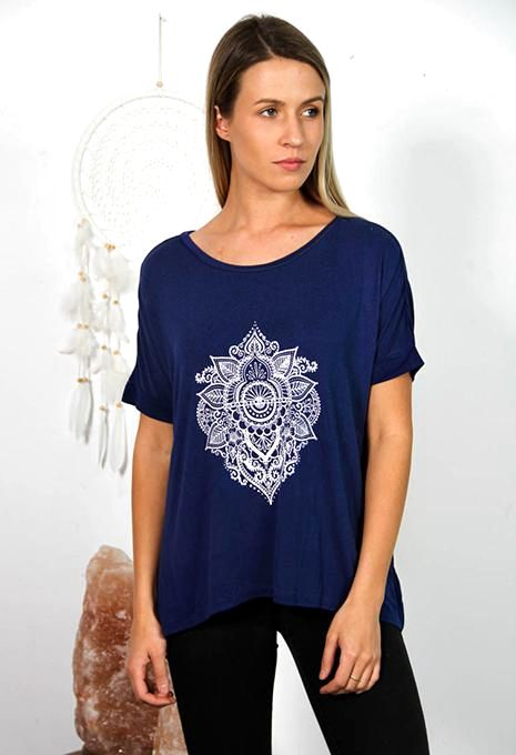 Blue Flower Mandala Tee