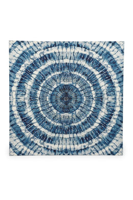 Blue Shibori Print with Sequins Framed Canvas