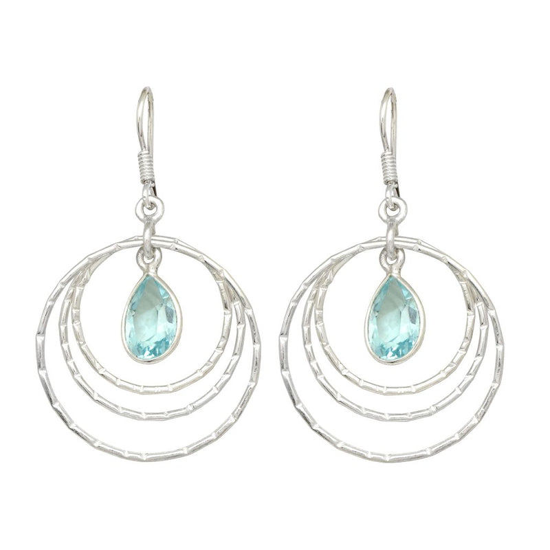 Blue Topaz Droplet Circle Earrings
