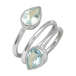 Blue Topaz Spiral Ring
