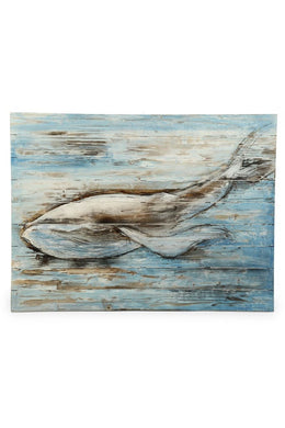 Blue Whale Oil Painting Framed Canvas