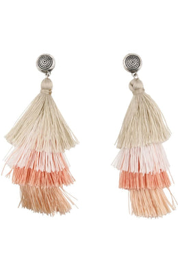 Blush Colours Layered Tassel Earrings