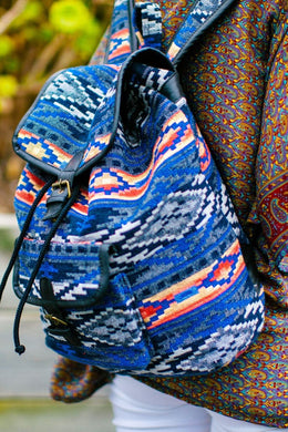 Bohemian Print Woven Leather Backpack - Large