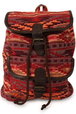 Bohemian Print Woven Leather Backpack - Small