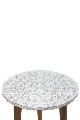White Distress Mandala Carved Wood Side Table