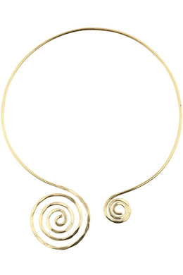 Brass Beaten Spiral Necklace