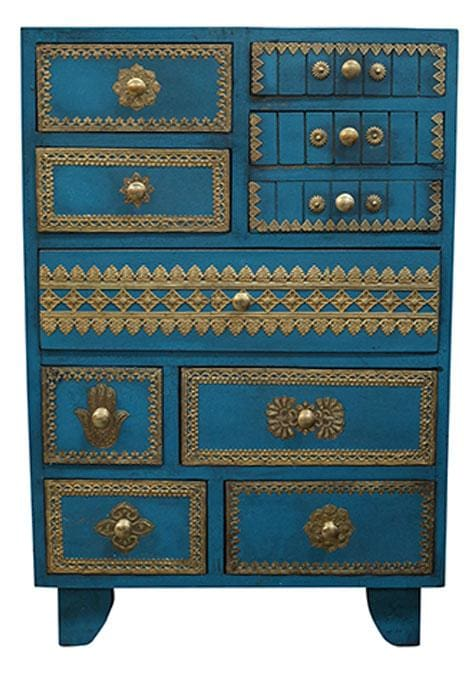 Brass-Fitted Blue Drawers