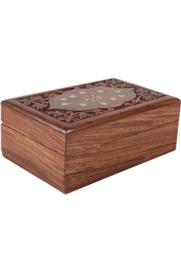 Brass Inlay Carved Box