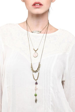 Brass Stone Layered Necklace
