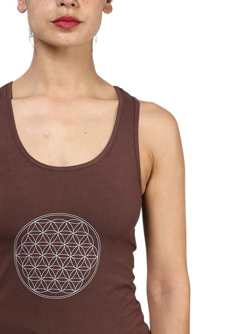 Brown Flower Of Life Yoga Top
