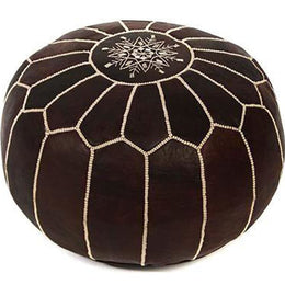 Brown Moroccan Leather Ottoman