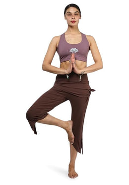 Brown Side Tie Yoga Pants