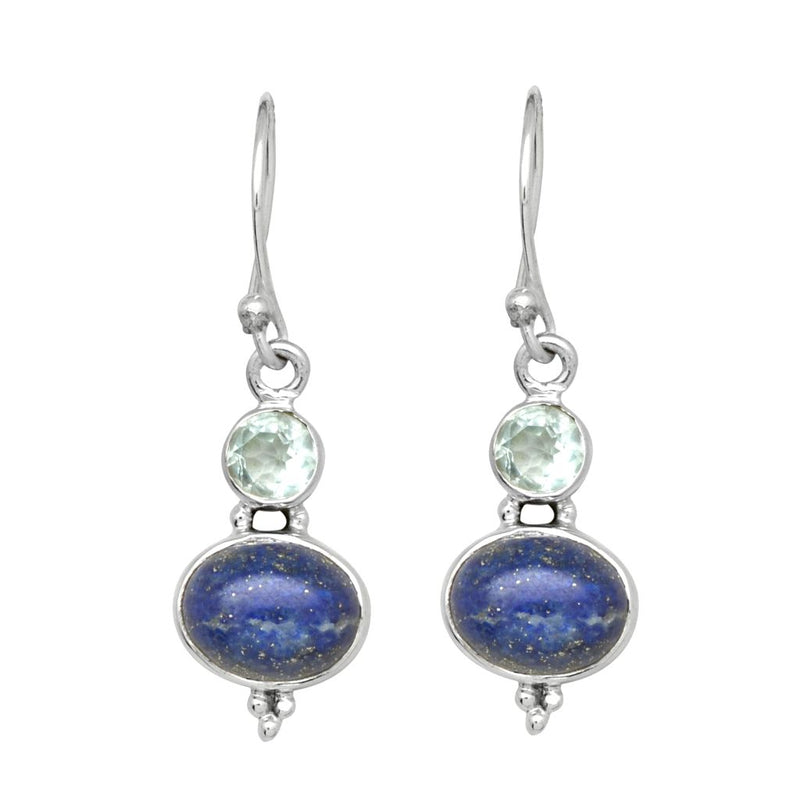 Bue Topaz And Lapis Earrings