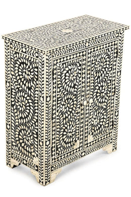 Cabinet Bone Inlay Door 2 Black And White 63X32X76Cm