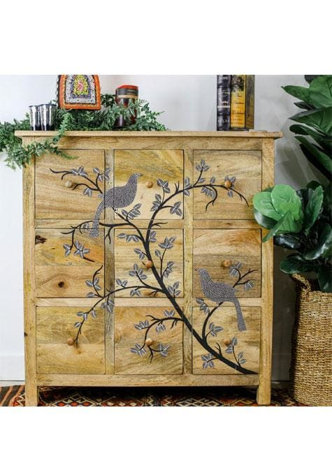 Cabinet Wooden Painted 9 Drawer Chest 84X34X80Cm
