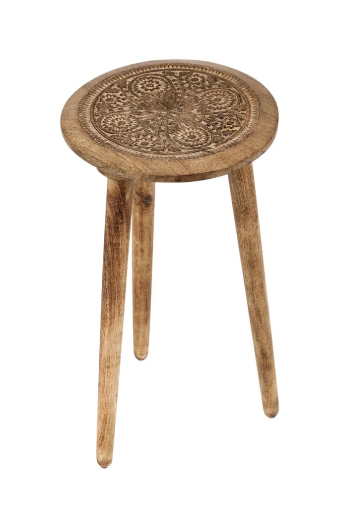 Carved Mango Wood Tripod Side Table