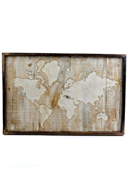 Carved Map Wall Panel