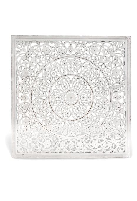 Carved Square White Wall Art Signs Ishka