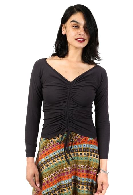Charcoal Ruched Top
