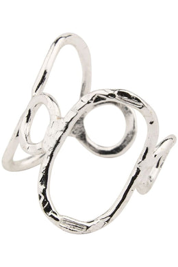 Circles Adjustable Wire Silver Ring