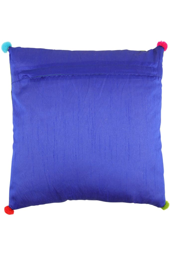 Cobalt Floral Embroidered Cushion