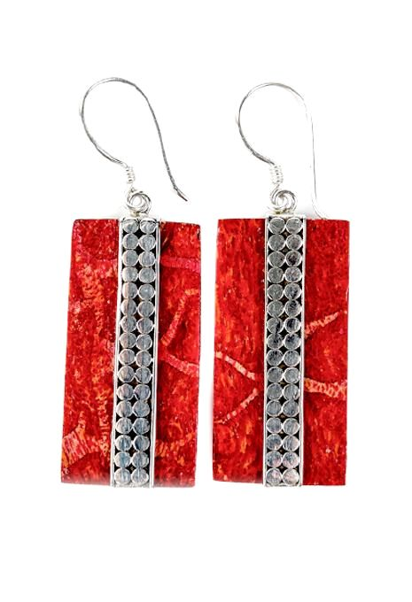 Coral Rectangle Earrings