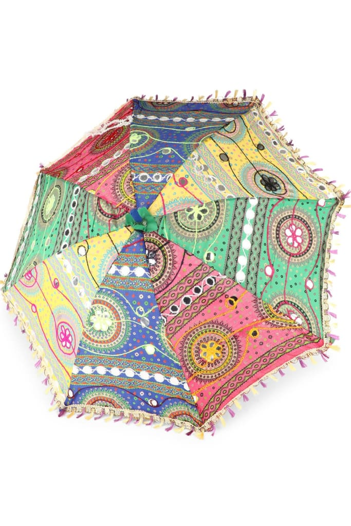 Cotton Embroidered Rainbow Parasol