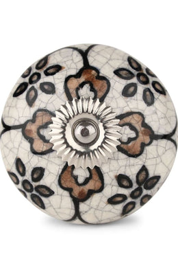 Cream Flower Ceramic Knob