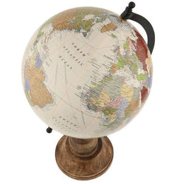 Cream Globe With Wooden Base