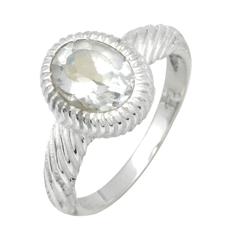 Crystal Quartz Twisted Band Ring