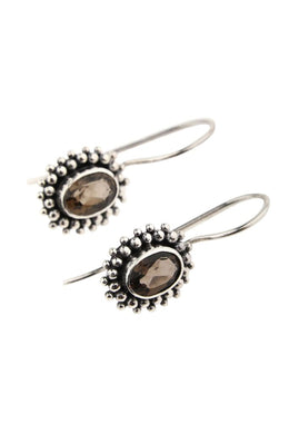 Dainty Faceted Smoky Quartz Silver Earrings