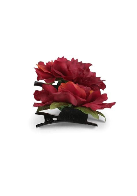 Dark Red Flower Hair Clips